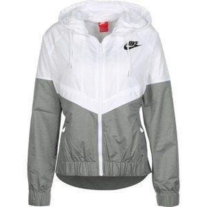 Nike White and Grey Hoodie Windbreaker Raincoat